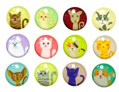 -  Cats - 12 Pieces 3D Semi-circular iPhone Home Button Stickers iPhone iPad Decals