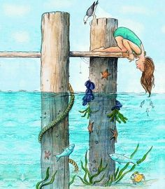 Girl on dock cartoon illustration via www.Facebook.com/GleamOfDreams
