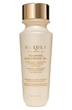 Marula Pure Beauty Oil Foaming Cleansing Oil 7.10oz/210ml. Marula Pure Beauty Oil Foaming Cleansing Oil 7.10oz/210ml. Marula Foaming Cleansing Oil is a triple action hybrid cleanser that delivers all the benefits of a gentle oil cleanser. without sulfates or oily residue. It transforms to a light foam with water. moisturizing skin while softly exfoliating to remove dirt and dead skin cells, revealing firmer, younger-looking skin.