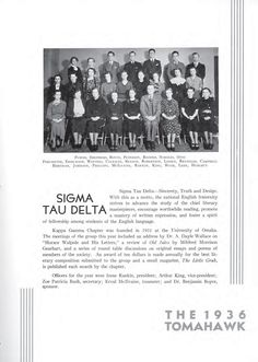"Sigma Tau Delta information from the 1936 issue of ""The Tomahawk"" at Omaha University."
