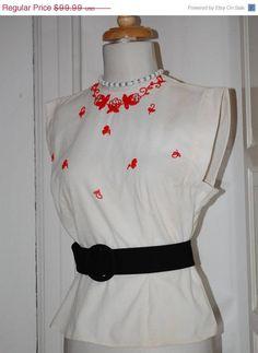 50s Blouse Embellished Beaded Morlove White Pique Red