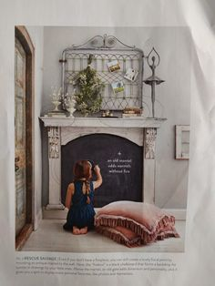 """""""Mantels + Hearths"""" from The Magnolia Journal, Fall Read it on the Texture app-unlimited access to top magazines. Antique Fireplace Mantels, Antique Mantel, Fireplace Mantle, Faux Mantle, Vintage Mantle, Vintage Fireplace, Bedroom Fireplace, Cozy Cottage, Little Girl Rooms"""