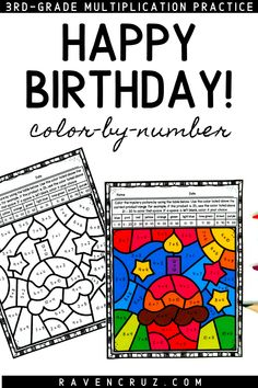 Celebrate birthdays with these multiplication color by number worksheets. Use them to replace a students normal work or to celebrate a significant figure's birthday. #mathwithraven Multiplication Facts Practice, Math Facts, Math Rotations, Math Centers, Common Core Math Standards, Fourth Grade Math, Number Worksheets, Homeschool Math, Elementary Math