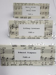 THIS IS A MUST !!!  i will be in charge of making these !!!!!!!!!  Beautiful Hand Crafted Music Themed Wedding Escort Cards
