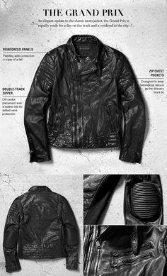 Veste de moto moderne de la collection Black Label pour hommes de Ralph Lauren : la Grand Prix est aussi à l'aise pour une journée sur le circuit que pour un week-end en ville