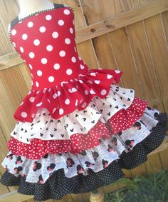 Made to Order Red Dot Minnie Disney Mickey Cruise Girl Dress Size 2 3 4 5 6 7 or 8