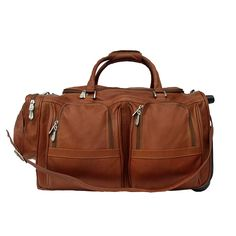 Piel Leather Duffel with Pockets On Wheels >>> To view further for this item, visit the image link. (This is an Amazon Affiliate link and I receive a commission for the sales)