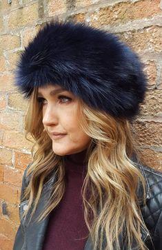 a17dbf9923e65 Midnight Blue Faux Fur Headband / Neckwarmer / Earwarmer Handmade in  Lancashire England
