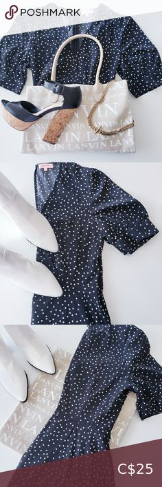 POLKA DOT DRESS Cute light flowy dress with hidden zipper and hook closure. In lightly worn condition (worn once) Armpit to bottom length Armpit to armpit across Has a wrap like bust with deep V Can accommodate a bigger bust Dresses Mini Plus Fashion, Fashion Tips, Fashion Trends, Dot Dress, Polka Dots, Short Sleeve Dresses, Closure, Deep, Zipper