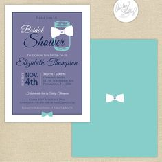 Ashley Shelly Creative — Primrose Mag #bridal #shower #mason #masonjar #bow #purple #tiffany #blue #invites #design