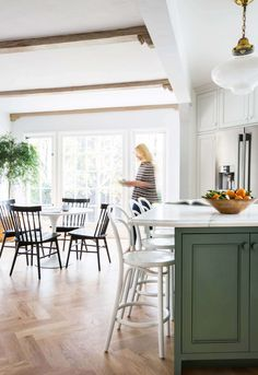 Our Modern English Country KitchenLove these chairs-  Windsor chairs by Threshold for Target