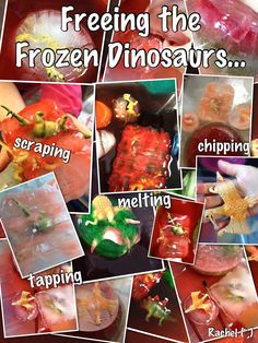 "Freeing the frozen dinosaurs. from Rachel ("",) Play Based Learning, Project Based Learning, Home Learning, Early Learning, Dinosaur Activities, Dinosaur Crafts, Preschool Activities, Dinosaurs Eyfs, Early Years Maths"