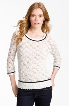 Hinge® Preppy Pointelle Sweater available at Nordstrom