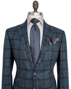 Ermenegildo Zegna Blue with Chocolate and Taupe Windowpane Sportcoat 2 button…