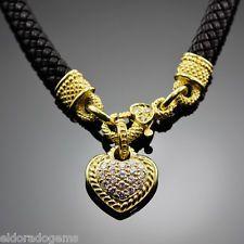 "JUDITH RIPKA NECKLACE 1.50 CT. DIAMOND HEART, LEATHER CORD 18K YELLOW GOLD 14.5"""