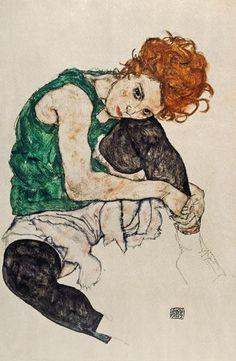 Schiele, Egon : Femme assise avec la jambe...