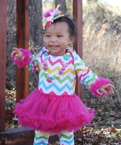 Another great find on #zulily! Pink Rainbow Zigzag Tutu Bodysuit - Infant by Under The Hooded Towels #zulilyfinds