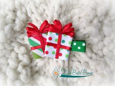 Christmas or Holiday Present Ribbon Sculpture by EllaBellaBowsWI, $6.00