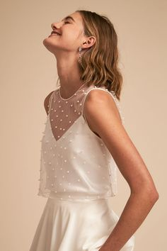 Jenny Yoo Collection, the Riley Topper. Studded with hand-sewn pearls, this sheer top brings a lustrous and dimensional layer to your bridal separates look. For the Boho, Preppy, or Modern Bride. Available Exclusively at BHLDN x Jenny Yoo. Unusual Wedding Dresses, Country Wedding Dresses, Wedding Dress Trends, Wedding Dress Shopping, Modest Wedding Dresses, Preppy Wedding Dress, Top Transparent, Wedding Dress Topper, Bridal Separates