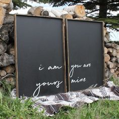 I Am Yours, You Are Mine Set | Wood Sign(s) farmhouse signs, rustic signs, fixer upper style, home decor, rustic decor, inspiring quotes, wood sign sayings, magnolia market, rustic signs, boho, boho style, eclectic living, living room inspiration, gallery wall decor, gallery wall signs, bedroom decor, bedroom signs, joanna gaines decor