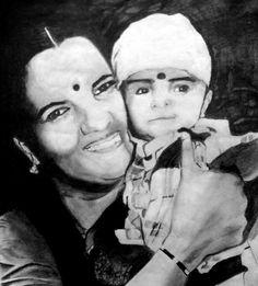 Mom and son Pencil sketch