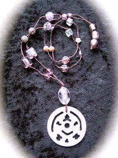 """Halsband """"Boho 1"""" - Långt rosa/silver halsband med p..."""