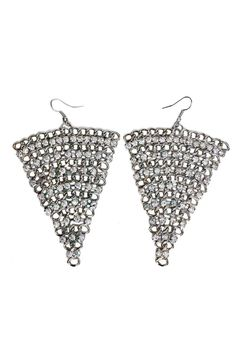"These silver triangle chandelier earrings are perfect for any occasion! Embellished with rhinestone detailing.    Measures approx. 3"" x 2.5""   Triangle Chandelier Earrings Accessories - Jewelry - Earrings Las Vegas"