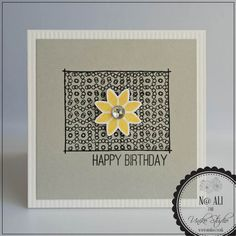 Card#0465 - Uniko Studio - clear stamps and die cuts - Background Builders: Round in Circles, Flower Power #1 & FONTiments Birthday
