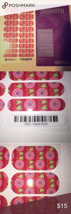 Jamberry Nail Wraps 💜 Nepal Relief Fundraiser **RETIRED- LIMITED EDITION** Full sheet Nepal Relief Jamberry Nail Wraps.  Excellent condition as they have been stored in an album out of direct sunlight and heat.  Such a pretty pattern 💜 Jamberry Makeup