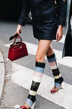 Multicolor leather striped knee-high square heel boots and small red leather Fendi bag