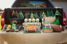 Tailgate setup from Tailgate Football Birthday Party at Kara's Party Ideas. See more at karaspartyideas.com!