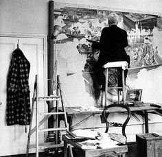 Stanley Spencer in studio New Artists, Famous Artists, Stanley Spencer, Oil Paper Umbrella, Archives Of American Art, Picasso Portraits, Romare Bearden, Life Drawing Classes, Frank Stella