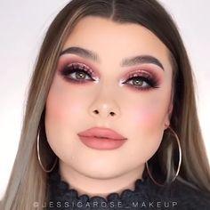 Bride Eye Makeup, Sparkly Eye Makeup, Gold Makeup, Red Eyeshadow Look, Beauty Makeup Tips, Gold Eyes, Colorful Makeup, Makeup Videos, Rose Gold