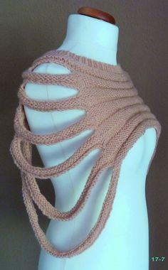 gestrickt - Schulterwärmer Kurzponcho Weste nude haut - ein Designerstück von strickmaus bei DaWanda
