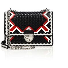 Prada Madras Woven Goat Leather Chain Bag ($3,020) ❤ liked on Polyvore featuring bags, handbags, shoulder bags, apparel & accessories, leather purse, woven handbags, prada purses, chain handle handbags and genuine leather shoulder bag
