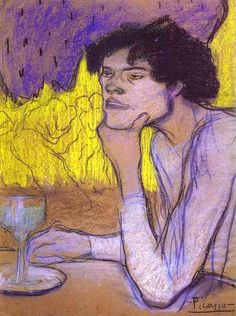Pablo Picasso. L'Absinthe. 1901. Charcoal, pastel, gouache on paper. Collection of Otto Krebs, Holzdorf. Now in the Hermitage, St. Petersburg