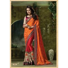 Ethnic Orange And Pink Designer Saree #saree #sarees #designersaree #indianfashion #partywear #onlineshopping