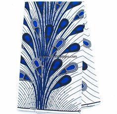 African fabric, 6 yards/ Ankara Fabric / Ankara print fabric/African print fabric/ Ankara clothing/ African wax print/ white, blue WP1025