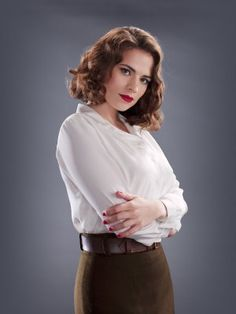 Agent Carter 8 x 10 Photo Hayley Atwell/Peggy Carter Brown Skirt White Blouse Arms Crossed kn Hayley Atwell Peggy Carter, Hayley Elizabeth Atwell, Chris Evans, Biel Biel, Hailey Baldwin, Actress Hayley Atwell, Hayley Attwell, And Peggy, My Hairstyle