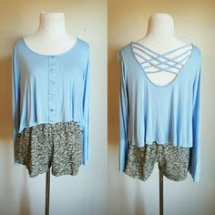 Mine Long Sleeve Crop Top Baby blue crop top with criss cross back. Soft material in excellent condition. No stains, tears, or shrinking. Fits true to size. 100% rayon.  *No trades Mine Tops Crop Tops