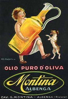 Olio puro di oliva Montina, Albenga - Liguria vintage olive oil poster #riviera #essenzadiriviera