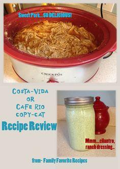 Costa Vida (Cafe Rio) Sweet Pork Salad, gotta try it. Copycat Recipes, Pork Recipes, Mexican Food Recipes, Crockpot Recipes, Costa Vida Sweet Pork Recipe, Cafe Rio, Food Reviews, 5 Hours, The Best