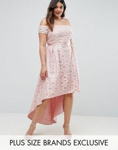 Chi Chi London Plus Lace Bardot Dress With Hi Lo Hem