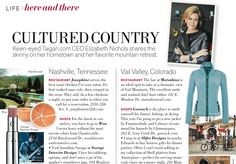 Elizabeth Nichols' favorite things and places in Vail and Nashville - Taigan CEO featured in Veranda | Fetch Magazine by Taigan