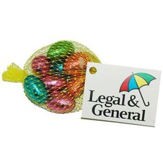 Net of Chocolate mini eggs with branded swing tag.
