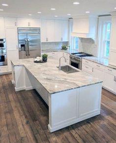 Kitchen Ikea, Grey Kitchen Cabinets, Home Decor Kitchen, Kitchen Countertops, Kitchen Interior, New Kitchen, Dark Cabinets, Kitchen Island, Awesome Kitchen