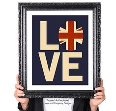 Love British Vintage Flag, Typography British Decor, Great Britain, United Kingdom, Union Jack, Union Flag, British Art Print, Blue, Red by JaneAndCompanyDesign on Etsy https://www.etsy.com/listing/190005630/love-british-vintage-flag-typography