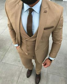 Blazer Outfits Men, Stylish Mens Outfits, Mens Fashion Suits, Mens Suits, Indian Groom Dress, Beige Suits, Groom Wear, 3 Piece Suits, Gentleman Style