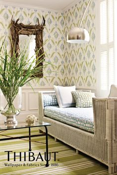 Island Ikat Wallpaper in Blue & Green Thibaut Width: 27 in, Repeat: 24 in, unpasted, washable, and strippable.  Available in 5 colors.  $49 per single roll http://www.thibautdesign.com