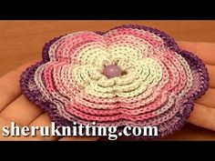 Crochet Layered Flower Pattern Tutorial 87  I WOULD MAKE THIS BIGGER AS A POT HOLDER..